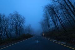 Highway in dark foggy mountain forest. Highway in the foggy mountain forest stock photos