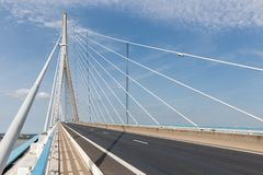 Highway at Pont de Normandie, French bridge over river Seine Royalty Free Stock Images