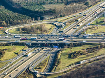 Highway at the frankfurter kreuz in the afternoon Stock Photos