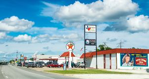 Highway and gas station in Clarksville, Texas. American way of life. Ð¡larksville, Texas, USA - July 07, 2017: Highway in the American city of Clarksville stock photography