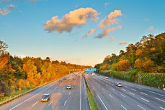 Highway in Germany. Traffic on highway in Germany Royalty Free Stock Photos