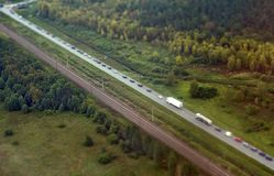 Highway in Germany. Aerial view of highway in Germany stock photo