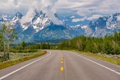 Highway in Grand Teton National Park. Wyoming, USA Stock Image