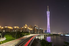 Highway and Guangzhou Tower Stock Photos