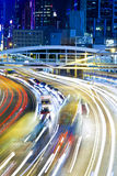 Highway with heavy traffic at night Royalty Free Stock Photo