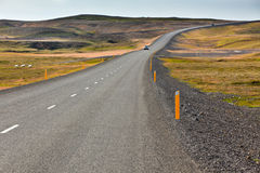 Highway through Icelandic landscape Stock Images