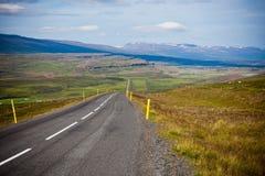 Highway through Icelandic landscape Royalty Free Stock Image