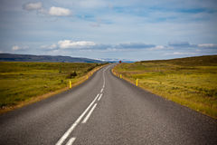 Highway through Icelandic landscape Royalty Free Stock Photos