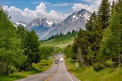 Free Highway In Grand Teton National Park Royalty Free Stock Images - 214533079