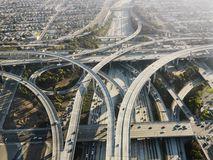 Highway interchange. Aerial view of complex highway interchange in Los Angeles California Royalty Free Stock Image