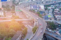 Highway interchange aerial view. With motion blurred car moving Stock Photos