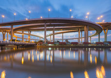 Highway interchange curved river front view Royalty Free Stock Images