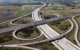 Highway interchange. Seen from plane, aerial view Royalty Free Stock Photo