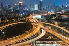 Highway interchanged with city downtown night view Royalty Free Stock Photography