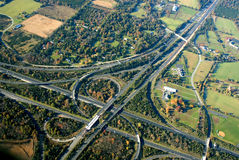 Highway intersection. Aerial image of american highway intersection during fall season Stock Image