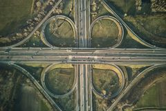 Freeway cloverleaf interchange. Highway intersection aerial drone photo Stock Image