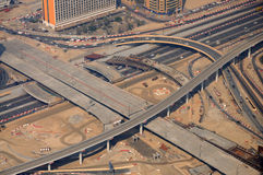 Highway Intersection in Dubai. Aerial view of Sheikh Zayed Road intersection in Dubai, United Arab Emirates Royalty Free Stock Images