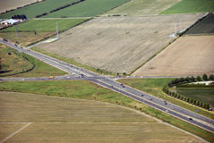 Highway intersection in the fields Royalty Free Stock Image