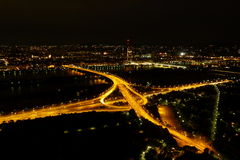 Highway intersection at night. A highway intersection viewed from above, in the night royalty free stock photo