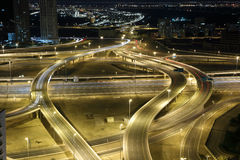 Highway intersection at night. Dubai, United Arab Emirates Stock Photo