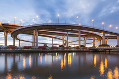 Highway intersection overpass river front Royalty Free Stock Image