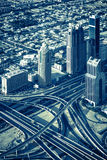Highway intersection and skyscrapers Royalty Free Stock Image