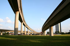 Highway intersections. Suspended train railway intersections Royalty Free Stock Photography