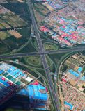 Highway junction, aerial Stock Photo