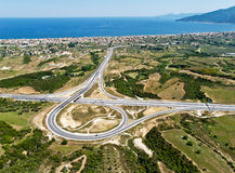 Highway junction, aerial. Aerial view of a highway junction royalty free stock photo