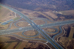 Highway junction. Aerial highway junction. Highway shape like number 8 and infinity sign Stock Photo