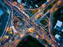 Highway junction from aerial view. Highway junction in Bangna, the east of Bangkok from aerial view in the night. Taken in August 2016 Royalty Free Stock Photo