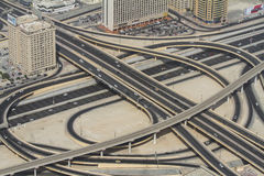 Highway junction in Dubai, UAE. Royalty Free Stock Images