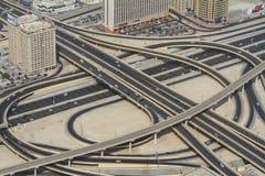 Highway junction in Dubai, UAE. DUBAI, UAE - November 1: A busy highway junction in Dubai, UAE, on November 1, 2013 Royalty Free Stock Images