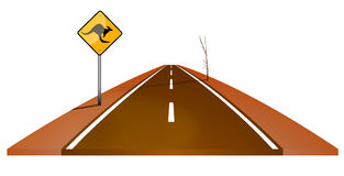 Highway with kangaroo sign. Illustration of a brown Australian highway with a yellow kangaroo sign and a dead tree isolated against a white background Royalty Free Illustration