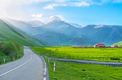 The highway in Kazbegi Stock Photos