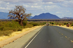 Highway in Kenya. African road from Mombasa to Nairobi, Kenya Royalty Free Stock Photos