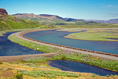 Highway and landscape in Iceland Royalty Free Stock Photos