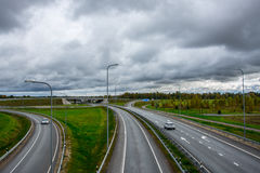 Highway landscape, massive clouds stock photography
