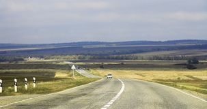 Highway landscape with moving cars at daytime royalty free stock photo