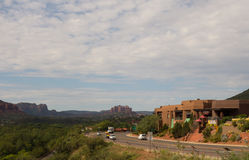 The highway leading into the desert town of sedona Royalty Free Stock Images