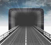 Highway leading to retro television with sky flare Royalty Free Stock Photo