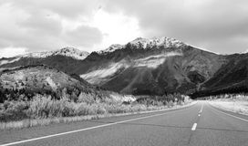 Highway Leads Through Peaks Alaska Range Fall Autumn Season Stock Photos