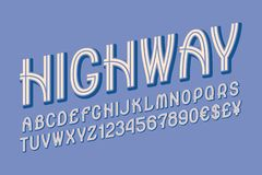 Highway letters with numbers and currency signs. Isolated english alphabet.  stock illustration
