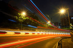 Highway light trails Stock Photography