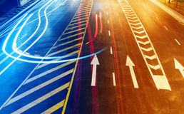 Highway light trails Royalty Free Stock Photo