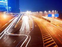 Highway light trails Royalty Free Stock Image