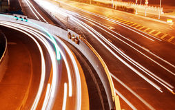 Highway light trails Royalty Free Stock Photos