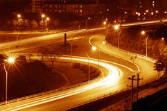 Highway light trails Stock Images