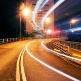 Highway light trails Stock Photo