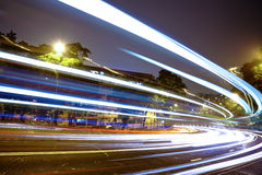 Highway light trails Stock Photo